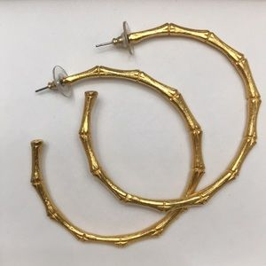 Gold Bamboo Large Hoop Earrings